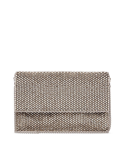 Minty Crystal Embellished Evening Bag - predominant colour: silver; occasions: evening, occasion; type of pattern: standard; style: clutch; length: hand carry; size: small; material: fabric; pattern: plain; finish: metallic; season: s/s 2016; wardrobe: event