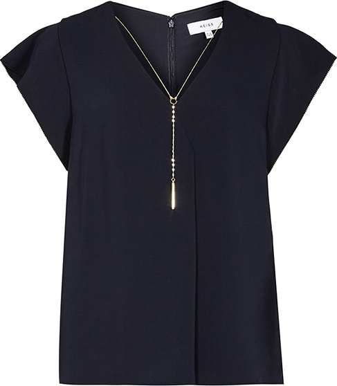 Zana Chain Detail Top - neckline: v-neck; sleeve style: capped; pattern: plain; bust detail: buttons at bust (in middle at breastbone)/zip detail at bust; predominant colour: navy; occasions: work, creative work; length: standard; style: top; fibres: polyester/polyamide - 100%; fit: straight cut; sleeve length: short sleeve; texture group: crepes; pattern type: fabric; season: s/s 2016; wardrobe: basic