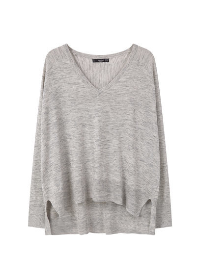Flecked Sweater - neckline: low v-neck; pattern: plain; style: standard; predominant colour: light grey; occasions: casual, creative work; length: standard; fibres: polyester/polyamide - mix; fit: loose; sleeve length: long sleeve; sleeve style: standard; texture group: knits/crochet; pattern type: knitted - fine stitch; season: s/s 2016; wardrobe: basic