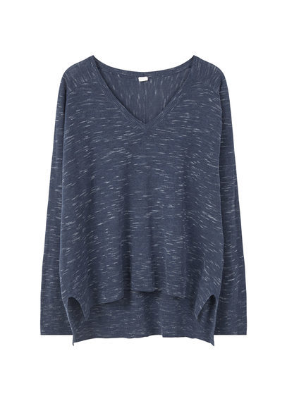 Flecked Sweater - neckline: v-neck; pattern: plain; style: standard; predominant colour: navy; occasions: casual, creative work; length: standard; fibres: polyester/polyamide - mix; fit: loose; back detail: longer hem at back than at front; sleeve length: long sleeve; sleeve style: standard; texture group: knits/crochet; pattern type: knitted - fine stitch; season: s/s 2016; wardrobe: basic