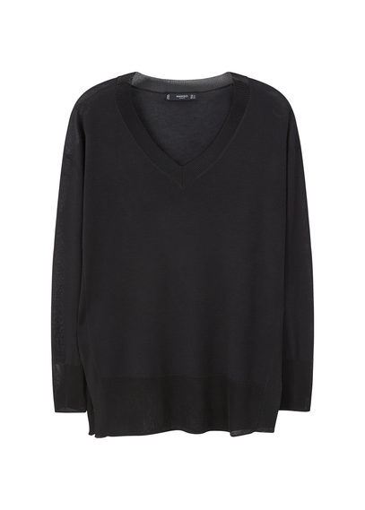 Fine Knit Sweater - neckline: v-neck; pattern: plain; length: below the bottom; style: standard; predominant colour: black; occasions: casual, creative work; fit: loose; sleeve length: long sleeve; sleeve style: standard; texture group: knits/crochet; pattern type: knitted - fine stitch; fibres: viscose/rayon - mix; season: s/s 2016; wardrobe: basic