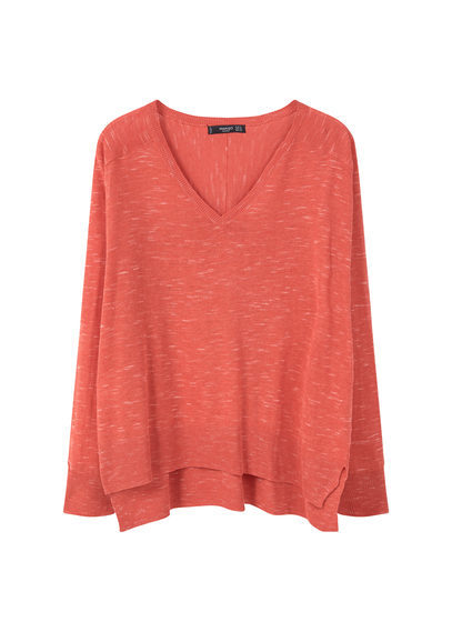Flecked Sweater - neckline: low v-neck; pattern: plain; style: standard; predominant colour: bright orange; occasions: casual, creative work; length: standard; fibres: polyester/polyamide - mix; fit: loose; back detail: longer hem at back than at front; sleeve length: long sleeve; sleeve style: standard; texture group: knits/crochet; pattern type: knitted - fine stitch; season: s/s 2016; wardrobe: highlight
