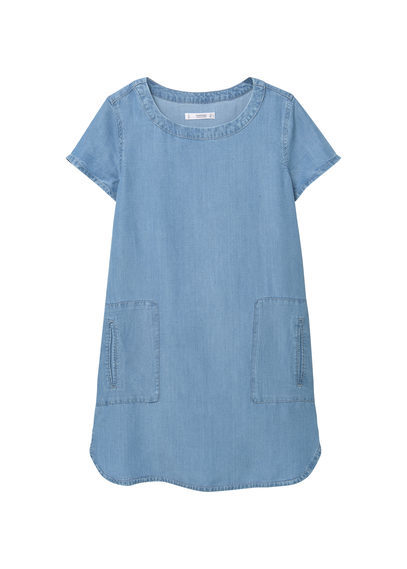 Soft Fabric Dress - style: tunic; length: mid thigh; neckline: round neck; pattern: plain; predominant colour: denim; occasions: casual; fit: straight cut; fibres: cotton - stretch; sleeve length: short sleeve; sleeve style: standard; texture group: denim; pattern type: fabric; season: s/s 2016