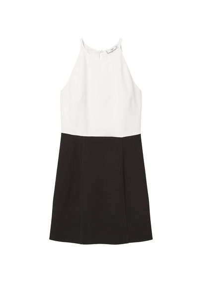 Bicolor Dress - style: shift; length: mid thigh; neckline: round neck; sleeve style: sleeveless; predominant colour: white; secondary colour: black; occasions: evening, occasion; fit: soft a-line; fibres: viscose/rayon - stretch; sleeve length: sleeveless; trends: monochrome; pattern type: fabric; pattern size: standard; pattern: colourblock; texture group: jersey - stretchy/drapey; season: s/s 2016