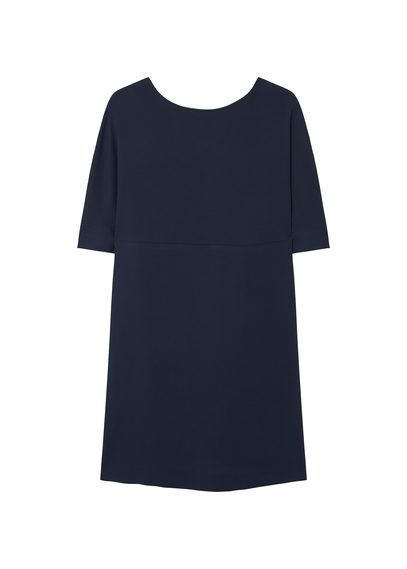 Back Vent Dress - style: shift; length: mid thigh; neckline: round neck; pattern: plain; predominant colour: navy; occasions: evening, work, creative work; fit: straight cut; fibres: viscose/rayon - stretch; sleeve length: half sleeve; sleeve style: standard; texture group: crepes; pattern type: fabric; season: s/s 2016; wardrobe: investment