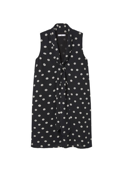 Polka Dot Dress - style: shift; length: mid thigh; neckline: v-neck; sleeve style: sleeveless; pattern: polka dot; secondary colour: white; predominant colour: black; occasions: casual, creative work; fit: straight cut; fibres: viscose/rayon - 100%; sleeve length: sleeveless; trends: monochrome; texture group: crepes; pattern type: fabric; pattern size: light/subtle; season: s/s 2016