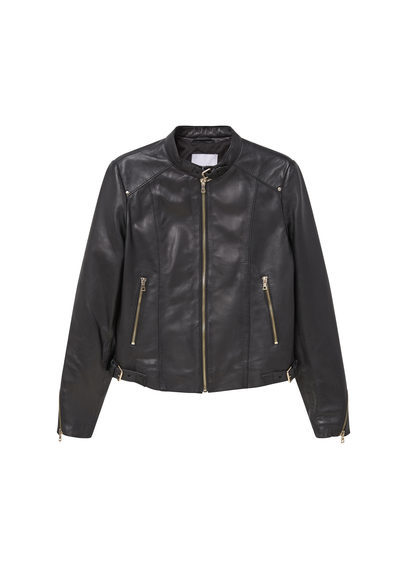 Zip Leather Jacket - pattern: plain; collar: round collar/collarless; fit: slim fit; style: bomber; predominant colour: black; occasions: casual, creative work; length: standard; fibres: leather - 100%; sleeve length: long sleeve; sleeve style: standard; texture group: leather; collar break: high; pattern type: fabric; pattern size: light/subtle; season: s/s 2016