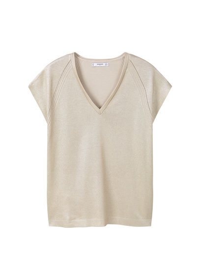 Metallic Top - neckline: v-neck; pattern: plain; predominant colour: champagne; occasions: casual, creative work; length: standard; style: top; fibres: cotton - stretch; fit: straight cut; sleeve length: short sleeve; sleeve style: standard; pattern type: fabric; texture group: other - light to midweight; season: s/s 2016; wardrobe: highlight