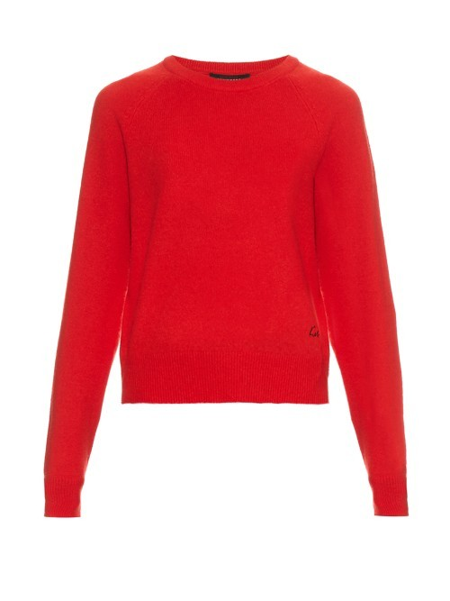 X Kate Moss Ryder Cashmere Sweater - neckline: round neck; pattern: plain; style: standard; predominant colour: true red; occasions: casual, creative work; length: standard; fit: standard fit; fibres: cashmere - 100%; sleeve length: long sleeve; sleeve style: standard; texture group: knits/crochet; pattern type: knitted - fine stitch; season: s/s 2016; wardrobe: highlight