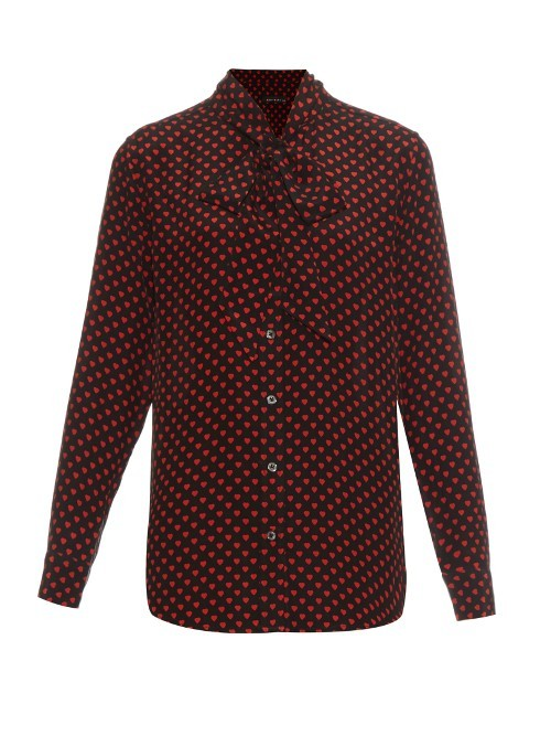 X Kate Moss Slim Signature Silk Blouse - neckline: pussy bow; style: blouse; pattern: polka dot; predominant colour: burgundy; secondary colour: black; occasions: work; length: standard; fibres: silk - 100%; fit: straight cut; sleeve length: long sleeve; sleeve style: standard; texture group: silky - light; pattern type: fabric; pattern size: big & busy (top); season: s/s 2016; wardrobe: highlight