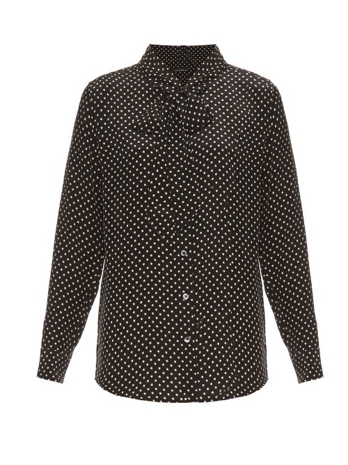 X Kate Moss Slim Signature Silk Blouse - length: below the bottom; style: shirt; neckline: pussy bow; pattern: polka dot; predominant colour: black; occasions: work; fibres: silk - 100%; fit: body skimming; sleeve length: long sleeve; sleeve style: standard; texture group: silky - light; pattern type: fabric; pattern size: big & busy (top); season: s/s 2016; wardrobe: highlight