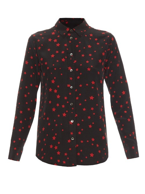 X Kate Moss Slim Signature Silk Blouse - neckline: shirt collar/peter pan/zip with opening; style: shirt; secondary colour: true red; predominant colour: black; occasions: casual, work, creative work; length: standard; fibres: silk - 100%; fit: body skimming; sleeve length: long sleeve; sleeve style: standard; texture group: silky - light; pattern type: fabric; pattern size: light/subtle; pattern: patterned/print; season: s/s 2016; wardrobe: highlight
