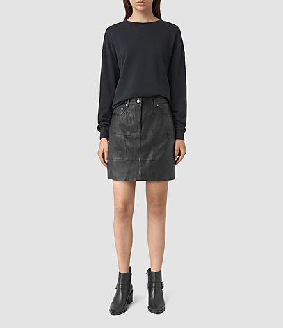Routledge Leather Skirt - length: mid thigh; pattern: plain; style: straight; waist: mid/regular rise; predominant colour: black; fibres: leather - 100%; texture group: leather; fit: straight cut; pattern type: fabric; occasions: creative work; season: s/s 2016; wardrobe: highlight