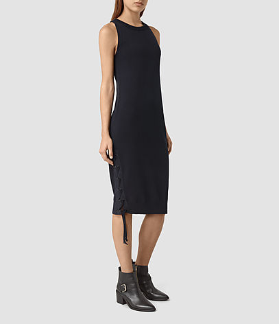Revo Lace Up Dress - length: below the knee; fit: tight; pattern: plain; sleeve style: sleeveless; style: bodycon; predominant colour: black; occasions: evening; fibres: cotton - 100%; neckline: crew; sleeve length: sleeveless; texture group: jersey - clingy; pattern type: fabric; season: s/s 2016