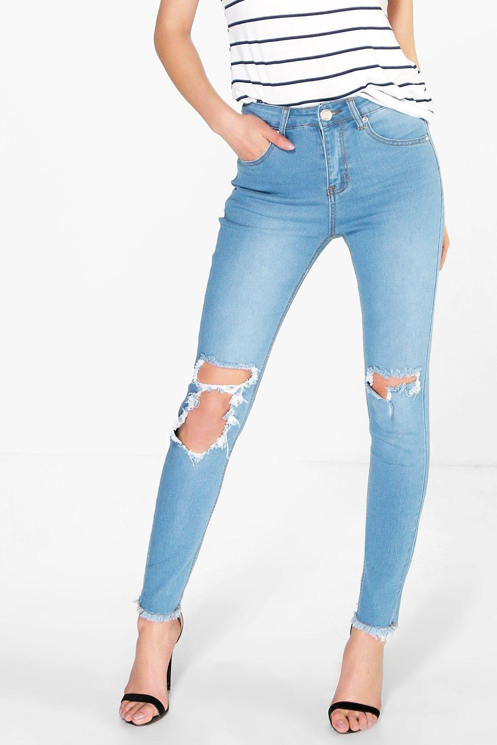 High Rise Clean Split Skinny Jeans Blue - style: skinny leg; length: standard; pattern: plain; waist: high rise; pocket detail: traditional 5 pocket; predominant colour: denim; occasions: casual; fibres: cotton - stretch; jeans detail: shading down centre of thigh, rips; texture group: denim; pattern type: fabric; season: s/s 2016