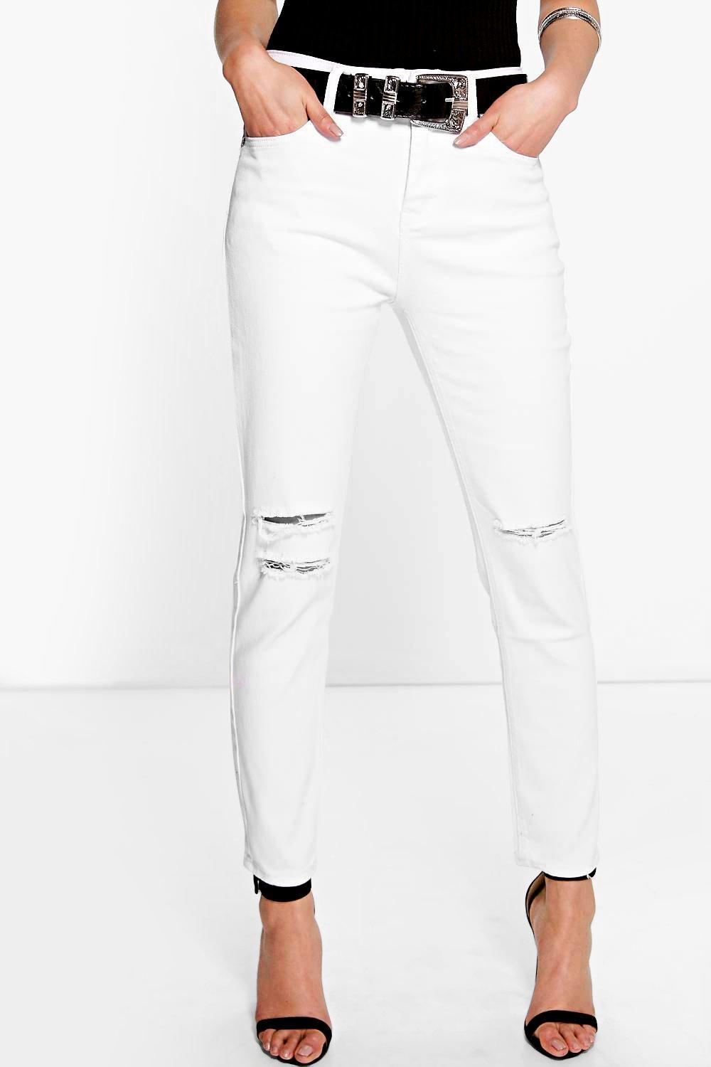 High Waisted Slit Knee Skinny Jeans White - style: skinny leg; length: standard; pattern: plain; pocket detail: traditional 5 pocket; waist: mid/regular rise; predominant colour: white; occasions: casual; fibres: cotton - stretch; texture group: denim; pattern type: fabric; jeans detail: rips; season: s/s 2016