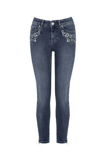 Embroidered Jean - style: skinny leg; length: standard; pattern: plain; waist: high rise; pocket detail: traditional 5 pocket; predominant colour: navy; occasions: casual; fibres: cotton - stretch; jeans detail: shading down centre of thigh; texture group: denim; pattern type: fabric; embellishment: beading; season: s/s 2016; wardrobe: basic