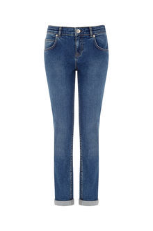 Go To Girlfriend Jeans - length: standard; pattern: plain; pocket detail: traditional 5 pocket; style: slim leg; waist: mid/regular rise; predominant colour: royal blue; occasions: casual; fibres: cotton - stretch; jeans detail: shading down centre of thigh; texture group: denim; pattern type: fabric; season: s/s 2016