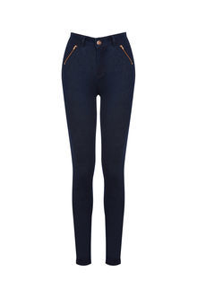 Jade High Waisted Biker Jeans - style: skinny leg; pattern: plain; waist: high rise; predominant colour: navy; occasions: casual; length: ankle length; fibres: cotton - stretch; texture group: denim; pattern type: fabric; season: s/s 2016; wardrobe: basic