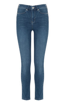 Stiletto Skinny Jeans - style: skinny leg; pattern: plain; pocket detail: traditional 5 pocket; waist: mid/regular rise; predominant colour: navy; occasions: casual; length: ankle length; fibres: cotton - stretch; jeans detail: washed/faded; texture group: denim; pattern type: fabric; season: s/s 2016