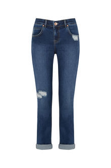 Go To Girlfriend Jeans - length: standard; pattern: plain; pocket detail: traditional 5 pocket; style: slim leg; waist: mid/regular rise; predominant colour: navy; occasions: casual; fibres: cotton - stretch; texture group: denim; pattern type: fabric; jeans detail: rips; season: s/s 2016; wardrobe: basic