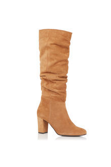 Slouchy Block Heel Boot - predominant colour: camel; occasions: casual, creative work; material: suede; heel height: mid; heel: block; toe: round toe; boot length: knee; style: standard; finish: plain; pattern: plain; season: s/s 2016; wardrobe: investment