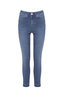 Stiletto Skinny Jeans - style: skinny leg; length: standard; pattern: plain; pocket detail: traditional 5 pocket; waist: mid/regular rise; predominant colour: denim; occasions: casual; fibres: cotton - stretch; texture group: denim; pattern type: fabric; season: s/s 2016; wardrobe: basic