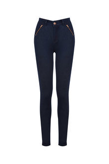 Classic Skinny Jeans - pattern: plain; waist: high rise; style: wide leg; predominant colour: navy; occasions: casual; length: ankle length; fibres: cotton - stretch; jeans detail: dark wash; texture group: denim; pattern type: fabric; season: s/s 2016; wardrobe: basic