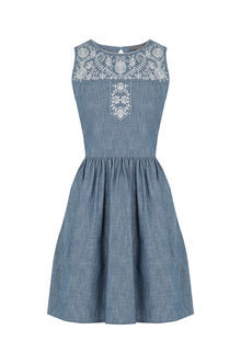 Alicia Embroidered Denim Dress - length: mini; sleeve style: sleeveless; waist detail: fitted waist; secondary colour: white; predominant colour: denim; occasions: casual, holiday; fit: fitted at waist & bust; style: fit & flare; fibres: cotton - 100%; neckline: crew; hip detail: subtle/flattering hip detail; sleeve length: sleeveless; texture group: denim; pattern type: fabric; pattern size: standard; pattern: patterned/print; embellishment: embroidered; season: s/s 2016; wardrobe: highlight; embellishment location: shoulder