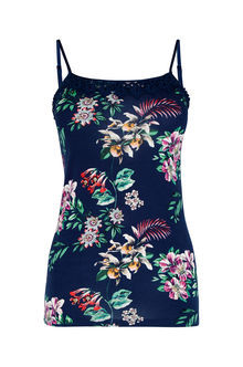 Malay Placement Print Cami - sleeve style: spaghetti straps; style: camisole; predominant colour: navy; occasions: casual, holiday; length: standard; neckline: scoop; fibres: cotton - stretch; fit: tight; sleeve length: sleeveless; texture group: jersey - clingy; pattern type: fabric; pattern: florals; multicoloured: multicoloured; season: s/s 2016; wardrobe: highlight