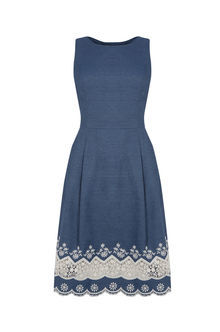 Broderie Hem Dress - sleeve style: sleeveless; secondary colour: white; predominant colour: navy; occasions: evening; length: on the knee; fit: fitted at waist & bust; style: fit & flare; fibres: cotton - 100%; neckline: crew; sleeve length: sleeveless; pattern type: fabric; pattern: patterned/print; texture group: woven light midweight; embellishment: embroidered; multicoloured: multicoloured; season: s/s 2016; wardrobe: event