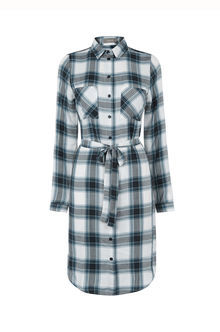 Check Shirt Dress - style: shirt; length: mid thigh; neckline: shirt collar/peter pan/zip with opening; fit: fitted at waist; pattern: checked/gingham; waist detail: belted waist/tie at waist/drawstring; predominant colour: white; secondary colour: navy; occasions: casual, creative work; fibres: cotton - 100%; sleeve length: long sleeve; sleeve style: standard; texture group: cotton feel fabrics; pattern type: fabric; pattern size: big & busy; season: s/s 2016; wardrobe: highlight