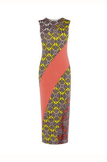 Sintra Print Midi Dress - style: shift; length: calf length; sleeve style: sleeveless; secondary colour: yellow; predominant colour: coral; occasions: evening; fit: body skimming; fibres: viscose/rayon - stretch; neckline: crew; sleeve length: sleeveless; pattern type: fabric; pattern: patterned/print; texture group: jersey - stretchy/drapey; multicoloured: multicoloured; season: s/s 2016; wardrobe: event