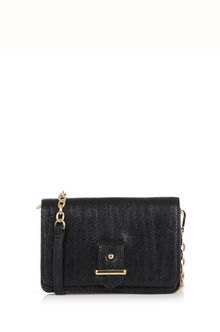 Margo Cross Body Bag - secondary colour: gold; predominant colour: black; occasions: evening; type of pattern: standard; style: clutch; length: across body/long; size: standard; material: faux leather; pattern: plain; finish: plain; season: s/s 2016; wardrobe: event