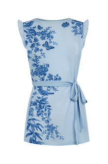 Embroidered Rosie Placement - sleeve style: capped; waist detail: belted waist/tie at waist/drawstring; secondary colour: royal blue; predominant colour: pale blue; occasions: casual; length: standard; style: top; fibres: cotton - 100%; fit: body skimming; neckline: crew; sleeve length: short sleeve; texture group: cotton feel fabrics; pattern type: fabric; pattern: florals; pattern size: big & busy (top); multicoloured: multicoloured; season: s/s 2016; wardrobe: highlight