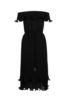 Ruffle Bardot Midi Dress - length: calf length; neckline: off the shoulder; sleeve style: capped; pattern: plain; style: sundress; predominant colour: black; occasions: evening; fit: body skimming; fibres: polyester/polyamide - 100%; sleeve length: short sleeve; pattern type: fabric; texture group: other - light to midweight; season: s/s 2016; wardrobe: event