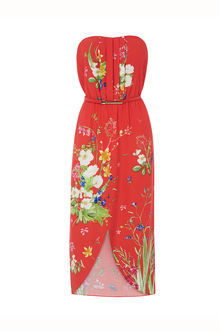 Chelsea Floral Bandeau Dress - length: calf length; neckline: strapless (straight/sweetheart); sleeve style: strapless; style: sundress; waist detail: belted waist/tie at waist/drawstring; secondary colour: white; predominant colour: true red; occasions: casual; fit: body skimming; fibres: viscose/rayon - 100%; sleeve length: sleeveless; pattern type: fabric; pattern: florals; texture group: woven light midweight; multicoloured: multicoloured; season: s/s 2016