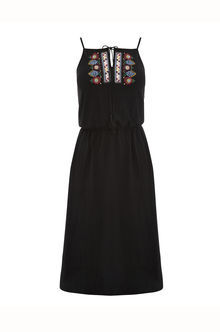 Embroidered Dress - sleeve style: spaghetti straps; style: sundress; bust detail: added detail/embellishment at bust; predominant colour: black; occasions: casual; length: on the knee; fit: body skimming; fibres: viscose/rayon - 100%; sleeve length: sleeveless; texture group: cotton feel fabrics; neckline: medium square neck; pattern type: fabric; pattern: florals; embellishment: embroidered; season: s/s 2016; wardrobe: highlight