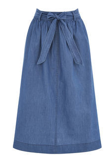 Chambray Midi Skirt - length: below the knee; pattern: plain; fit: loose/voluminous; waist: high rise; waist detail: belted waist/tie at waist/drawstring; predominant colour: denim; occasions: casual, creative work; style: a-line; fibres: cotton - 100%; texture group: denim; pattern type: fabric; season: s/s 2016; wardrobe: basic