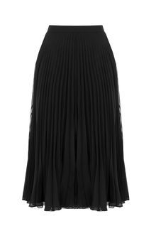 Pleated Skirt - length: below the knee; pattern: plain; fit: loose/voluminous; style: pleated; waist: high rise; predominant colour: black; occasions: work; fibres: polyester/polyamide - 100%; hip detail: subtle/flattering hip detail; texture group: sheer fabrics/chiffon/organza etc.; pattern type: fabric; season: s/s 2016; wardrobe: basic