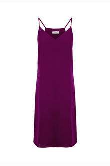 Crepe Cami Dress Longer Leng - length: below the knee; neckline: low v-neck; sleeve style: spaghetti straps; pattern: plain; predominant colour: purple; occasions: evening; fit: body skimming; style: slip dress; fibres: polyester/polyamide - 100%; sleeve length: sleeveless; pattern type: fabric; texture group: jersey - stretchy/drapey; season: s/s 2016; wardrobe: event