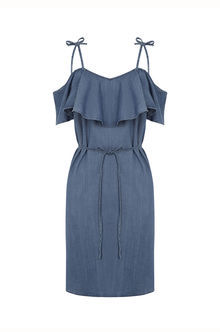 Ruffle Frill Dress - neckline: low v-neck; fit: fitted at waist; pattern: plain; style: sundress; waist detail: belted waist/tie at waist/drawstring; predominant colour: denim; occasions: casual, holiday; length: just above the knee; fibres: cotton - 100%; shoulder detail: cut out shoulder; sleeve length: short sleeve; sleeve style: standard; texture group: denim; pattern type: fabric; season: s/s 2016; wardrobe: highlight