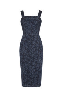Printed Denim Pencil Dress - style: shift; fit: tailored/fitted; sleeve style: sleeveless; predominant colour: denim; occasions: evening; length: on the knee; fibres: cotton - stretch; sleeve length: sleeveless; texture group: denim; neckline: medium square neck; pattern type: fabric; pattern: patterned/print; season: s/s 2016; wardrobe: event