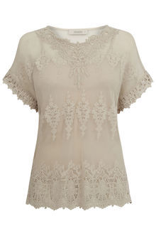 Mesh Lace Top - style: t-shirt; predominant colour: nude; occasions: casual; length: standard; fibres: polyester/polyamide - 100%; fit: body skimming; neckline: crew; sleeve length: short sleeve; sleeve style: standard; texture group: lace; pattern type: fabric; pattern: patterned/print; season: s/s 2016; wardrobe: highlight