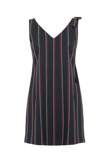 Stripe Bow Shoulder Dress - style: shift; length: mid thigh; neckline: v-neck; pattern: vertical stripes; sleeve style: sleeveless; secondary colour: true red; predominant colour: black; occasions: evening; fit: body skimming; fibres: cotton - stretch; sleeve length: sleeveless; pattern type: fabric; texture group: woven light midweight; multicoloured: multicoloured; season: s/s 2016; wardrobe: event