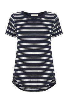 Double Stripe Perfect Tee - neckline: round neck; pattern: horizontal stripes; style: t-shirt; secondary colour: white; predominant colour: black; occasions: casual; length: standard; fibres: cotton - 100%; fit: body skimming; sleeve length: short sleeve; sleeve style: standard; pattern type: fabric; texture group: jersey - stretchy/drapey; pattern size: big & busy (top); season: s/s 2016