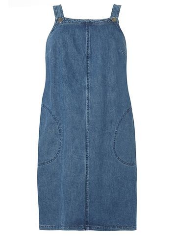 Womens **Dp Curve Mid Wash Denim Pinny Dress Blue - style: shift; pattern: plain; sleeve style: sleeveless; predominant colour: denim; occasions: casual; length: just above the knee; fit: body skimming; fibres: cotton - 100%; sleeve length: sleeveless; texture group: denim; neckline: medium square neck; pattern type: fabric; season: s/s 2016; wardrobe: basic