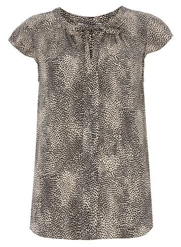 Womens **Tall Animal Soft Tee White - neckline: round neck; sleeve style: capped; style: t-shirt; predominant colour: chocolate brown; secondary colour: taupe; occasions: casual, creative work; length: standard; fibres: viscose/rayon - 100%; fit: body skimming; sleeve length: short sleeve; pattern type: fabric; pattern: animal print; texture group: jersey - stretchy/drapey; pattern size: big & busy (top); season: s/s 2016; wardrobe: highlight