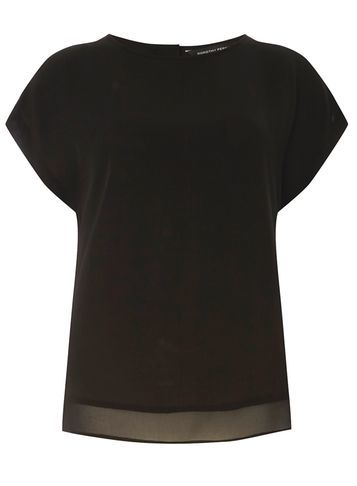 Womens Black Button Back Tee Black - neckline: round neck; pattern: plain; style: t-shirt; predominant colour: black; occasions: casual, work, creative work; length: standard; fibres: polyester/polyamide - 100%; fit: body skimming; sleeve length: short sleeve; sleeve style: standard; texture group: sheer fabrics/chiffon/organza etc.; pattern type: fabric; season: s/s 2016; wardrobe: basic