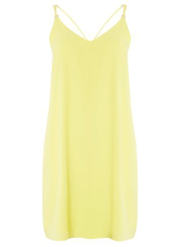 Womens Yellow Cami Slip Dress Yellow - length: mid thigh; neckline: low v-neck; sleeve style: spaghetti straps; pattern: plain; predominant colour: primrose yellow; occasions: evening; fit: soft a-line; style: slip dress; fibres: polyester/polyamide - 100%; back detail: crossover; sleeve length: sleeveless; texture group: crepes; pattern type: fabric; season: s/s 2016; wardrobe: event